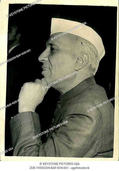 Feb. 09, 1955 - Indian Prime Minister Holds Press Conference With Handon His Chin: Mr. Jawaharial Nehru the Prime Minister of India - held a press conference at...
