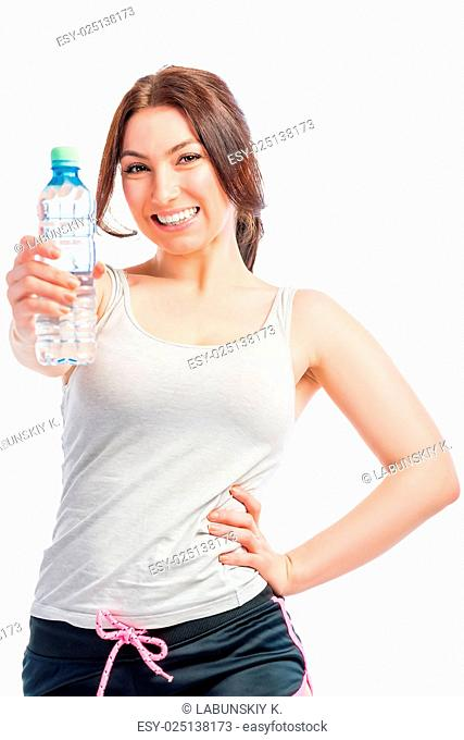 Girl and clean drinking water, studio shot