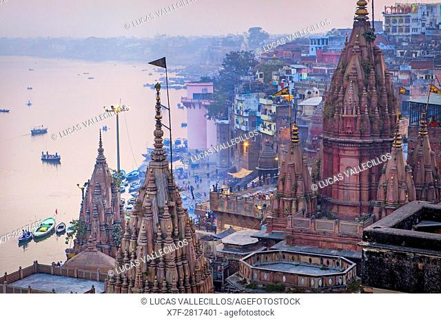 In first position the rooftop of Manikarnika ghat, general view of ghats rooftops, in Ganges river, Varanasi, Uttar Pradesh, India