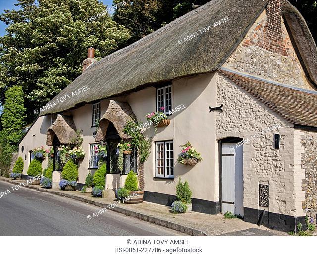 United Kingdom. England. Dorset. Bournemouth. Thatched cottage