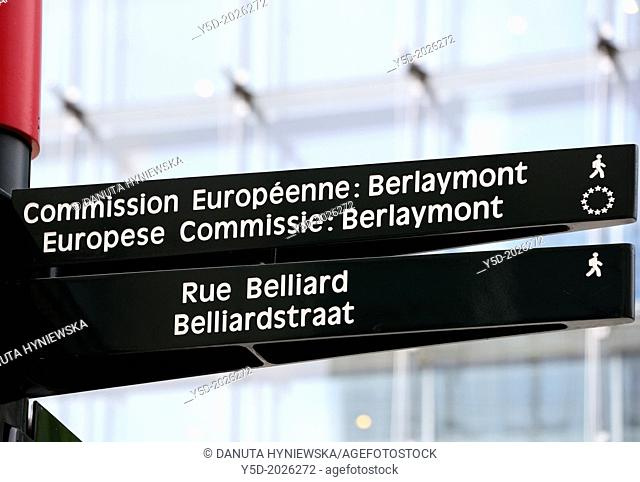 Street sign showing direction to Berlaymont building - headquarters of the European Commission in Brussels, Belgium, Europe