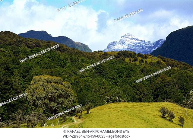 Landscape of high mountain range with snow caps near Glenorchy in the south Island, New Zealand.Photo by Rafael Ben-Ari/Chameleons Eye