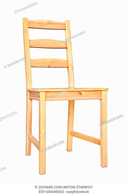 Unpainted wooden chair isolated on white