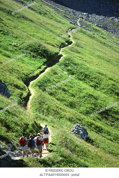 France, Savoie, hikers walking on footpath through green hillside