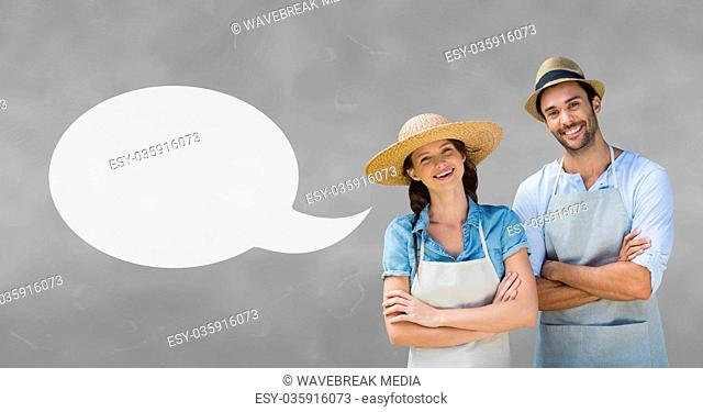 Couple with speech bubble against grey background