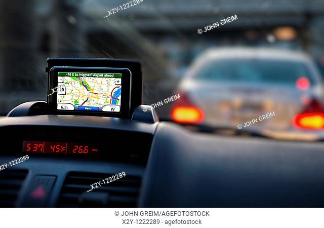 GPS unit on the dashboard of a car