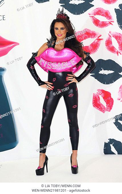 Katie Price launches her new perfume 'Kissable Fierce' at the Worx studios Featuring: Katie Price Where: London, United Kingdom When: 03 Dec 2014 Credit: Lia...