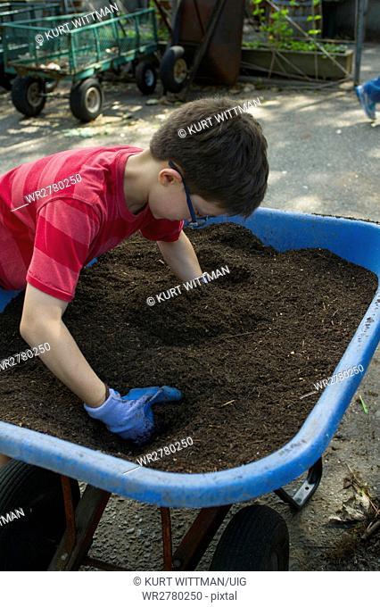 Boy Sifting Soil in Community Garden