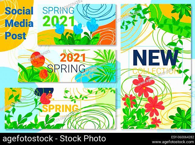 Spring sale, new banner background, season plant nature, post green flower, design, in cartoon style vector illustration