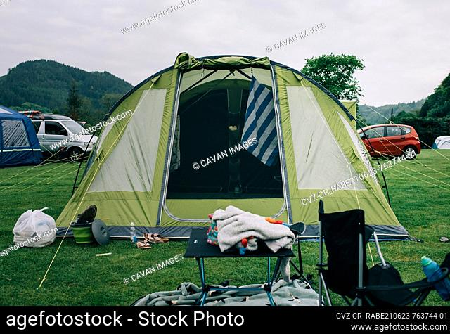 family camping tent on a campsite in Snowdonia National Park, Wales
