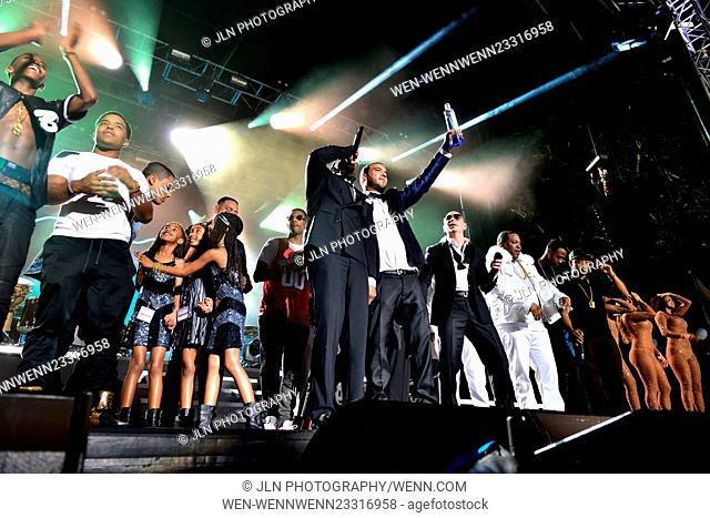 "Pitbull's New Year's Revolution 2016 at Bayfront Park Amphitheater Featuring: Pitbull, Sean """"P Diddy"""" Combs, Mase, French Montana, Zoey Dollaz, Fabolous"