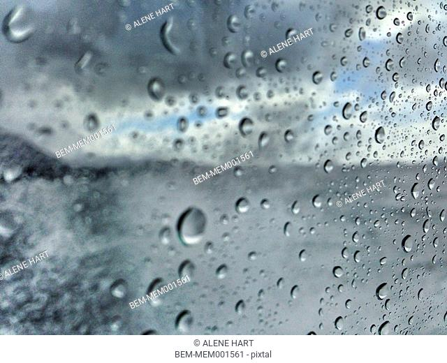 Close up of rain droplets on window