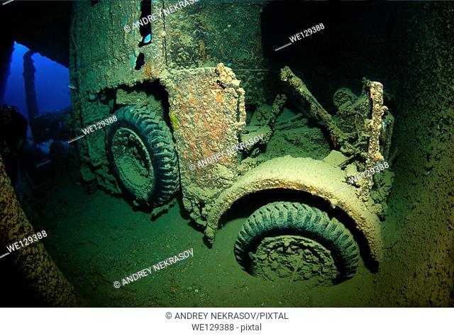 "truck on shipwreck """"SS Thistlegorm"""". Red sea, Egypt, Africa"