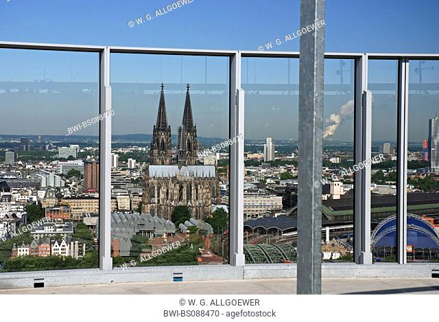 view from LVR tower on the old part of town and Cologne cathedral, Museum Ludwig and main station, Germany, North Rhine-Westphalia, Cologne