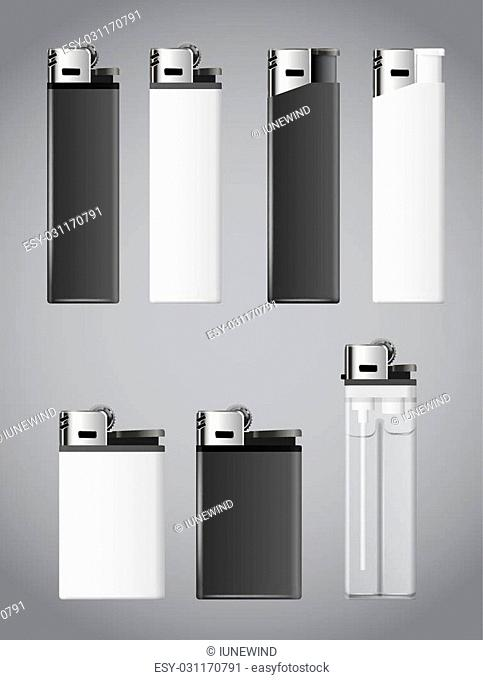 Realistic white and black fire lighters. Vector set