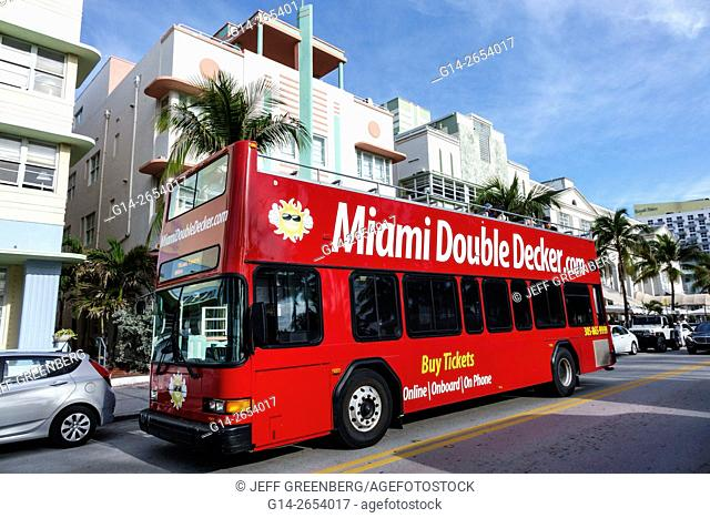 Florida, Miami Beach, Ocean Drive, red double decker bus, motorcoach, Art Deco hotels