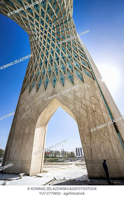 Underside view of Azadi Tower, formerly known as the Shahyad Tower, located at Azadi Square in Teheran city, Iran