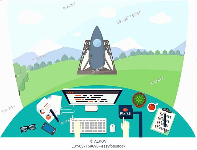 Hand of engineer is pushing start up button, while rocket is on launcher vehicle. Creative person at work ready to launch the project