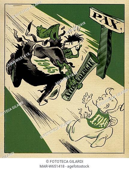 SATIRA Nella raffigurazione di una staffetta immaginaria sotto il nome della nuova Pace -Il vecchio anno 1945 dice al giovane 1946: prendi questo (il testimone...