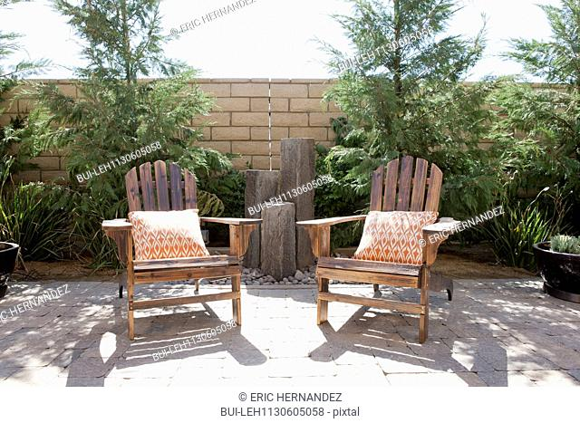 Armrest chairs on outdoor patio