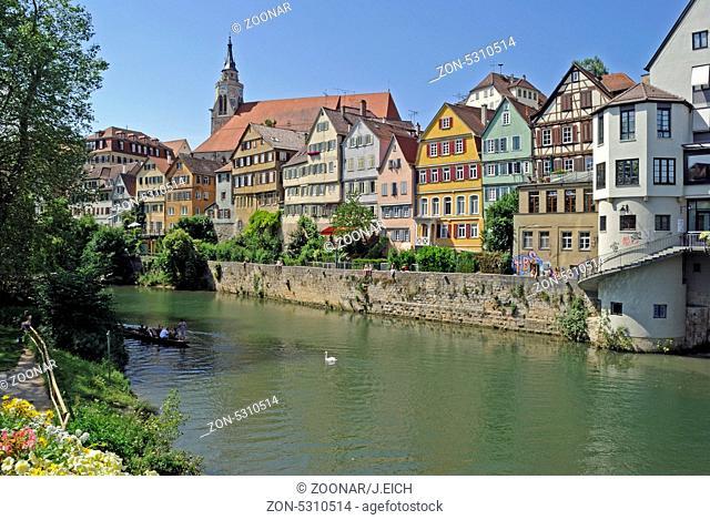 Baden-Württemberg, Tübingen, Neckar, Stadtansicht