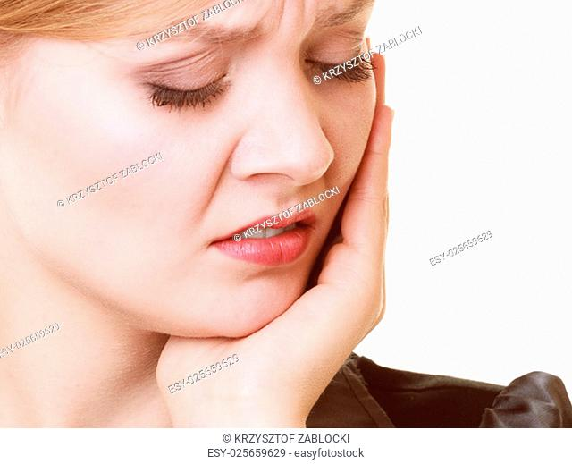 dental care and toothache. young woman worried girl suffering from tooth pain isolated on white