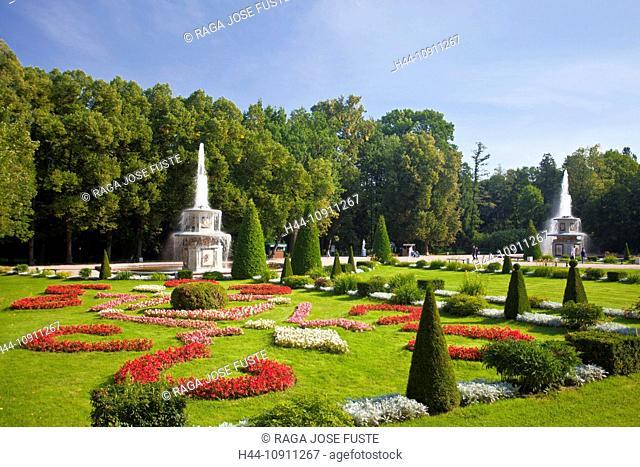 Russia, Europe, Saint Petersburg, Peterburg, City, Peterhof, Palace, Summer Palace, world heritage, park, fountain, pond, flowers