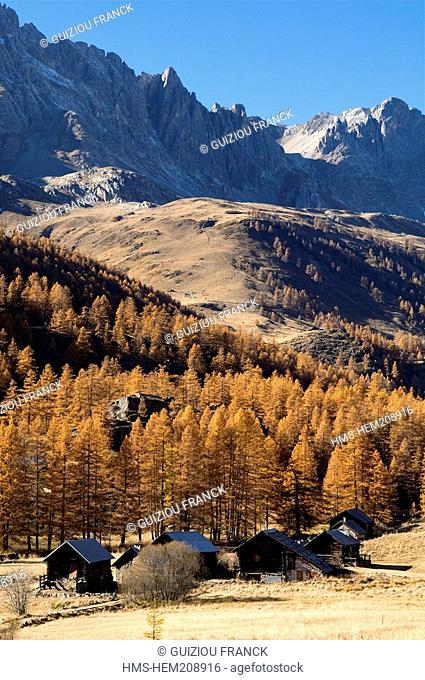 France, Hautes Alpes, the Brianconnais area in autumn, La Claree Valley