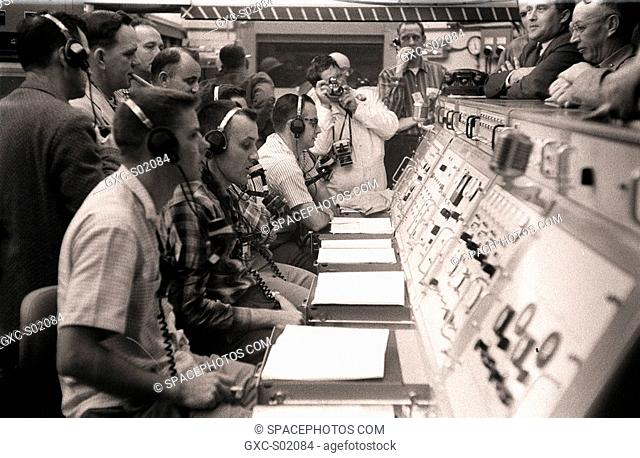 Dr. von Braun at the launch control room during the Pioneer IV launch. March 3, 1959