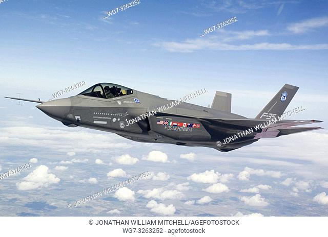 USA Texas -- 2009 -- This Lockheed Martin F-35 test aircraft AA-1 undergoes flight test over Fort Worth, Texas. This VTOL fighter is set to become the standard...