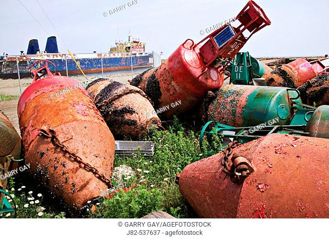 Rust old bouy's Nova Scotia, Canada