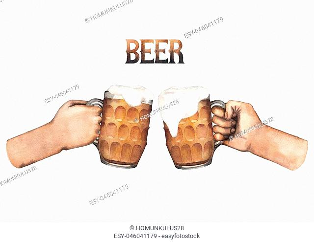 Two watercolor hands holding pints of beer. Hand painted illustration isolated on white background