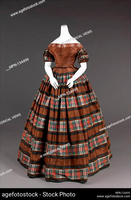 Evening dress. Date: 1850-55; Culture: American; Medium: silk, cotton; Credit Line: Brooklyn Museum Costume Collection at the museum