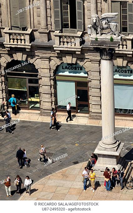 Italy, Veneto, Verona, Piazza delle Erbe Square, Venetian Lion of Saint Mark, Winged Lion, Statue