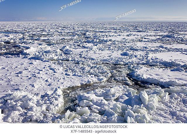 Frozen sea from sightseeing icebreaker, Aurora ship 1,Abashiri, Hokkaido,Japan
