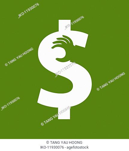 Hand grabbing part of dollar sign