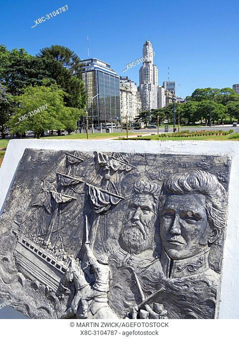 The quarter Retiro, monument in front of Torre Monumental. Buenos Aires, the capital of Argentina. South America, Argentina, November