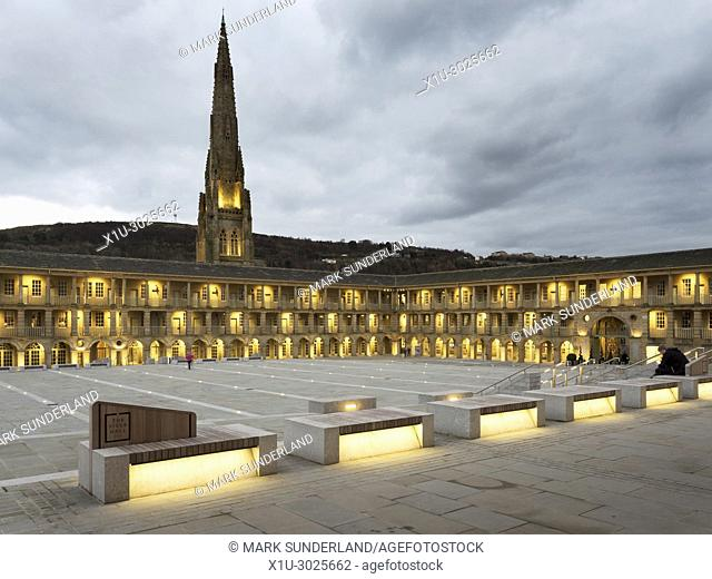 The Piece Hall at dusk Halifax West Yorkshire England