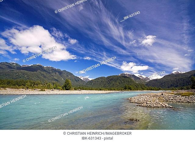 River and mountains along the Carretera Austral, Patagonia, Chile, South America
