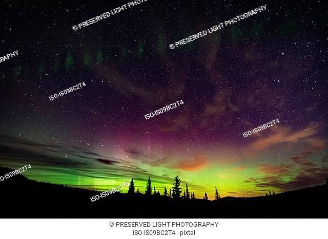Northern lights, auroral arc, Nickel Plate Provincial Park, Penticon, British Columbia, Canada
