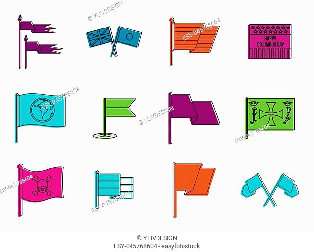 Flags icon set. Color outline set of flags icons for web design isolated on white background
