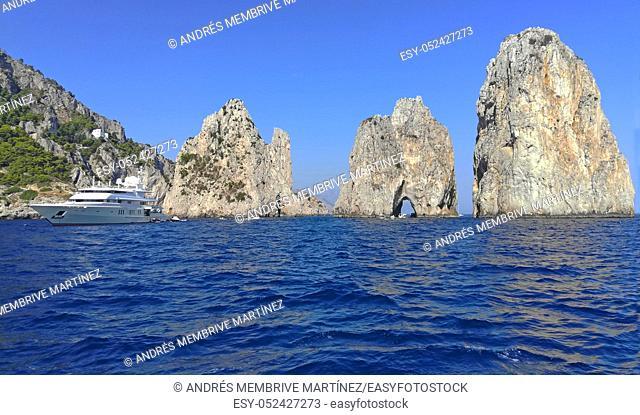 Faraglioni Mezzo in Capri Island Italy