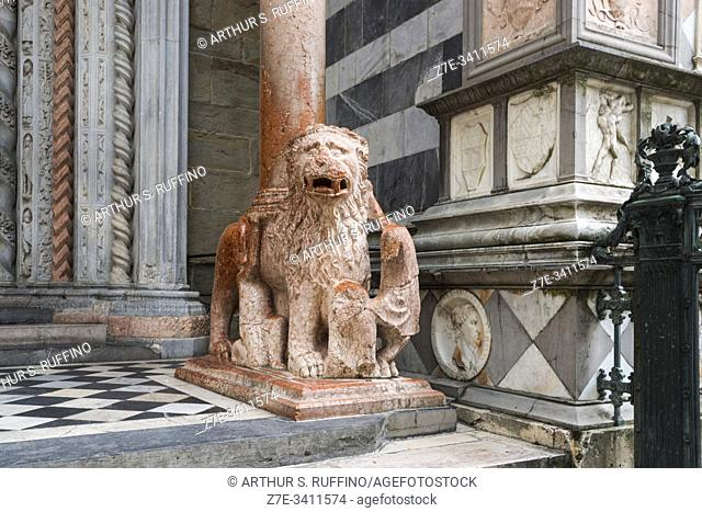 One of two red-marble lions supporting the columns of the northern portal arch of the Basilica of Santa Maria Maggiore, Piazza del Duomo