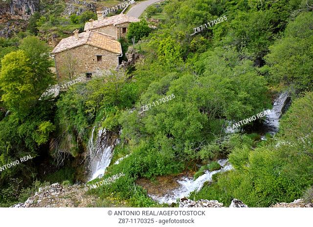 El Molino waterfall and Jucar river, Tragacete, Serrania de Cuenca Natural Park, Cuenca province, Castilla-La Mancha, Spain