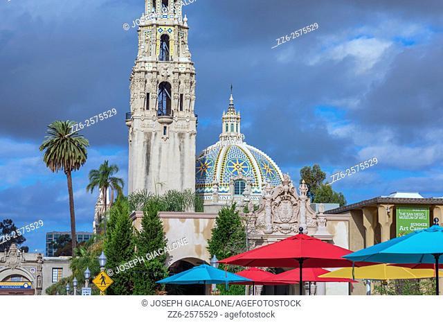 California Tower and Dome, umbrellas. Balboa Park, San Diego, California, USA