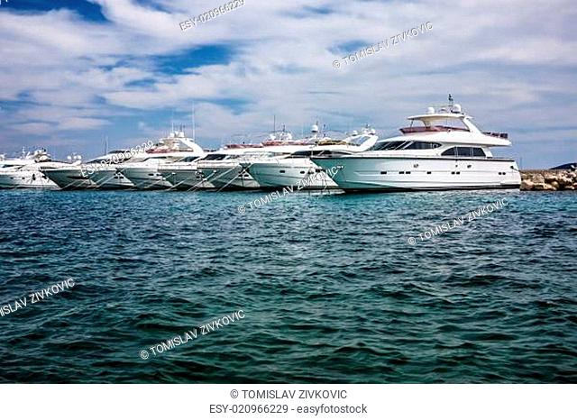 Motor yachts in the harbour