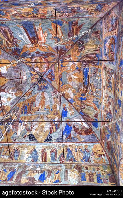 Frescoes, Church of Epiphany, UNESCO World Heritage Site, Yaroslavl, Golden Ring, Yaroslavl Oblast, Russia