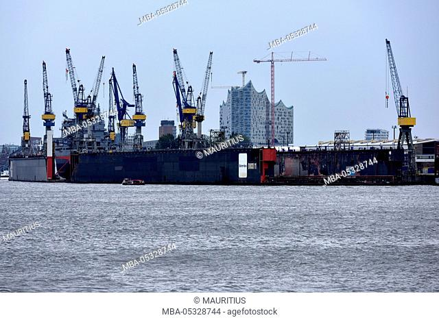 Dock grounds and cranes in the harbour of Hamburg, Germany, Europe