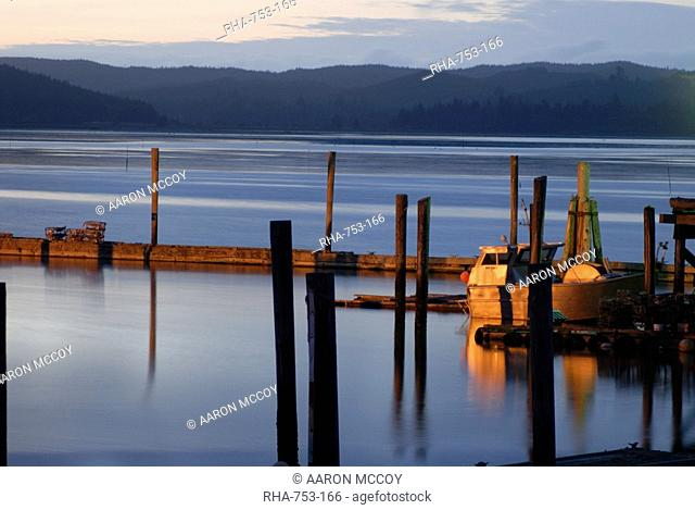 Crab pots on deck, Grayland Dock, Grays Harbor County, near Westport, Washington coast, Washington State, United States of America, North America