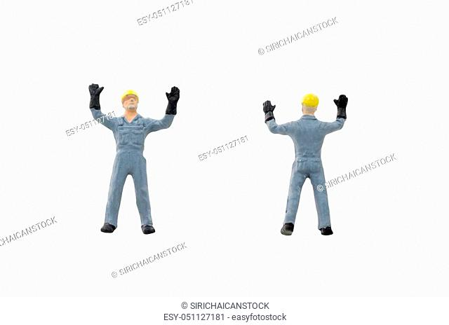 Miniature people worker construction concept on white background with clipping path